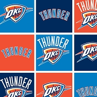 Fleece Oklahoma City Thunder Boxes NBA Basketball Pro Sports Team Fleece Fabric Print by the yard (83okc0006a)