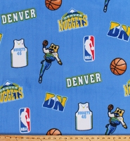 Fleece Denver Nuggets Blue NBA Pro Basketball Sports Team Fleece Fabric Print by the Yard (NUGG-035)