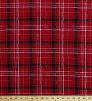 Wool Blend Plaid Suiting Rich Red Black Gray White 60