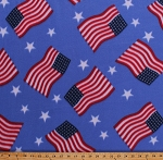 Fleece American Flags Stars and Stripes Patriotic Fourth of July Independence Day USA United States of America Light Blue Fleece Fabric Print by the Yard (4902M-12A-ltblue)