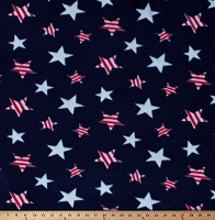 Fleece Patriotic Stars Red and White on Blue USA United States of America Independence Day Fourth of July Fleece Fabric Print by the Yard (6744S-1C-stars)