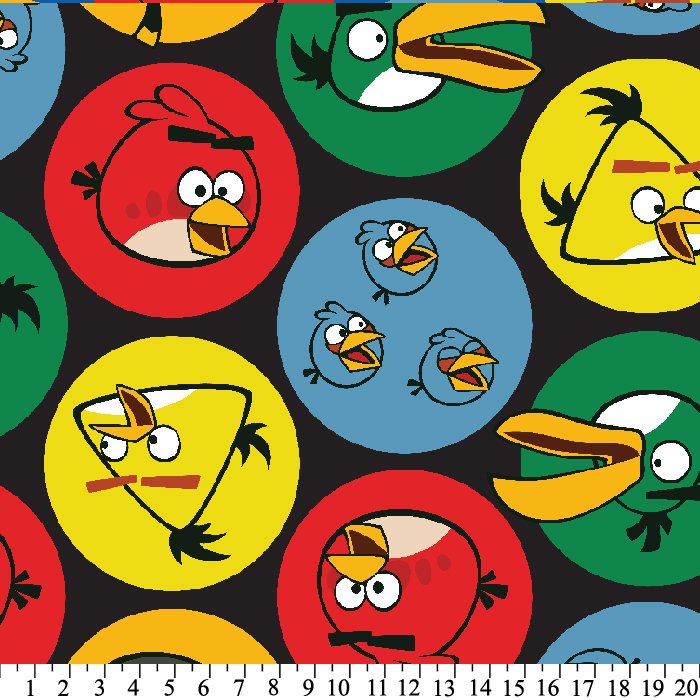 1 1//2 yd Angry Birds Print on White Cotton Fabric NEW