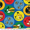 Fleece Angry Birds Bird Circles on Blue Kids Fleece Fabric Print by the Yard (oAB-3069-3A-3d)