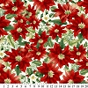 Fleece (not for masks) Poinsettia Red Allover Floral Fleece Fabric Print by the Yard oAG-8112-8A-1d