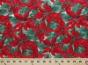 Cotton Poinsettias Christmas Flowers Floral Leaves Festive Holidays Winter First Snow Cotton Fabric Print by the Yard (awh-11346-223-holiday)