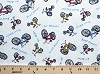 Cotton Blend Bike Bicycle Lovers Bikes on White Lightweight Jersey T-shirt Knit Fabric Print (6263F-12K)