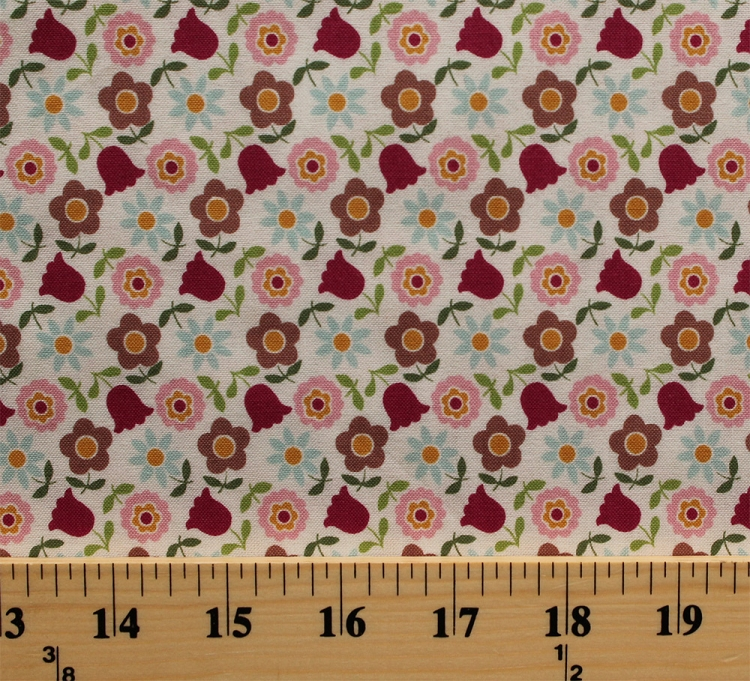 Cotton Flowers Allover Pink Blue Gold Floral Tulips Daisy Daisies ...