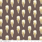Ice Cream Cones Chocolate Vanilla Scoops Cold Treats Summer Food Desserts Sweets Paris & Company My Mind's Eye Brown Cotton Fabric Print by the Yard (C2912-Brown)