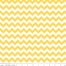 Riley Blake Small Chevron Yellow & White Striped Cotton Fabric Print ...