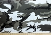 Camouflage Camo Twill Polyester Gray Black White Cotton Fabric Print (4943R-3K)