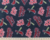 Fleece (not for masks) St. Louis Cardinals on Navy MLB Pro Baseball Sports Team Fleece Fabric Print by the yard