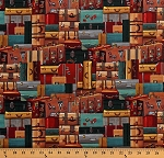 Cotton Suitcases Stacked Luggage Travel Explorers Vintage-Look Locomotion Cotton Fabric Print by the Yard (B-9475-39)