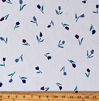 Scrubs Medical Tulips on White Scrub Poly Cotton Blend Limited Fabric Print (Tulips-Z-5J)