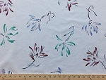 Scrubs Painted Flowers on White Scrub Poly Cotton Blend Fabric Print by the Yard