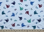 Scrubs Sailboats Boats Raindrops Nurses Medical Fabric Print by the Yard (3007G-2J)