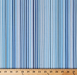 Cotton Blue Stripes Butterfly Effect Blue and White Striped Cotton Fabric Print by the Yard (04198-55)