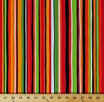 Cotton Multi-Color Stripes Red Orange Green Striped What's In My Pantry Cotton Fabric Print by the Yard (08309-99)