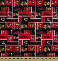 Cotton Chicago Blackhawks Block NHL Hockey Sports Team Cotton Fabric Print by the Yard (840blk)