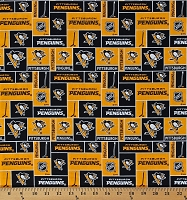 Cotton Pittsburgh Penguins Block NHL Hockey Sports Team Cotton Fabric Print by the Yard (840pen)