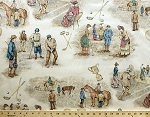 Old Fashioned Historical Vintage Sports Cotton Duck Fabric Print by the Yard