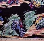 Racing Bikes Kawasaki Ninja on Black Cotton Rayon Challis Fabric Print by the Yard (8077G-9D)