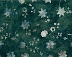 Rayon Batik Floral Gray White Flowers on Olive Green/Blue 44