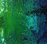 Reversible Sequin Fabric - Royal Blue/Jade Green/Black 2-Tone Reversible Iridescent Mermaid Scales 54
