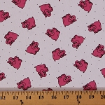 Hippos Mini Pink Hippopotamuses Dots Allover White Pique' 60