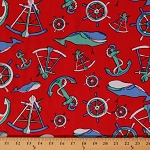 Nautical Twill Anchors Whales Helms Red Decorator Bottom Weight Soft Twill Fabric by The Yard (9469l-11m)