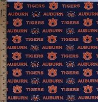 CottonBlend Twill Auburn University Tigers Blue College Sports Team Twill Fabric Print by the Yard (AU-250)