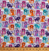 Flannel Cats Multi-Color Animals on Gray 44