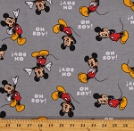 Flannel Mickey Mouse Oh Boy! Disney Character on Gray 45