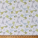 Flannel Giraffes Baby Jungle Animals Birds Green Blue Gray on White 44