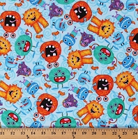 Flannel Silly Monsters on Blue Kids Children's Cotton Flannel Fabric Print by the Yard (N-0905-11)