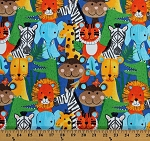 Flannel Jungle Animals Zebras Monkeys Elephants Giraffes Lions Safari Animals on Blue Kids Flannel Fabric Print by the Yard (0907-77)