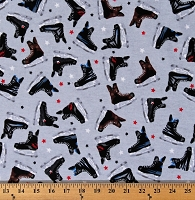 Flannel Hockey Skates Stars on Gray Ice Hockey Winter Sports Cotton Flannel Fabric Print by the Yard (6651M-1C-gray)