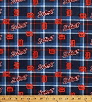 Flannel Detroit Tigers Plaid MLB Pro Baseball Sports Team Cotton Flannel Fabric By the Yard (60084b)