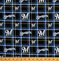Flannel Milwaukee Brewers Plaid MLB Pro Baseball Sports Team Cotton Flannel Fabric By the Yard (60081b)