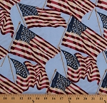Cotton American Flags on Light Blue Patriotic Flag Stars and Stripes Old Glory America USA Fourth of July Faded-Look Cotton Fabric Print by the Yard (A-8466-W)