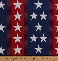 Cotton Stars and Stripes America USA Patriotic Fourth of July Independence Day (4 Parallel Stripes) Cotton Fabric Print by the Yard (A-7787-R)