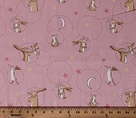 Cotton Rabbits Cute Bunnies Nutbrown Hares Guess How Much I Love You Children's Book Animals Moons Stars on Pink Cotton Fabric Print by the Yard (Y2518-42PINK)