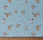 Cotton Rabbits Bunnies Nutbrown Hares Guess How Much I Love You Children's Book Animals Moons Stars on Light Aqua Kids Cotton Fabric Print by the Yard (Y2518-32LIGHTAQUA)