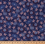Cotton Patriotic Fireworks Stars and Stripes Fourth of July American Flags Red White and Blue USA America Home of the Brave Cotton Fabric Print by the Yard (4626-77)