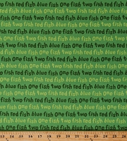 Cotton One Fish Two Fish Red Fish Blue Fish Dr. Seuss Kids Children's Book Words on Green Cotton Fabric Print by the Yard (ADE-16330-7GREEN)