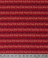 Cotton One Fish Two Fish Red Fish Blue Fish Dr. Seuss Kids Children's Book Words on Red Cotton Fabric Print by the Yard (ADE-16330-3RED)