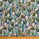 Cotton Cactus Garden Succulents Cacti Flowering Plants Greenhouse on Cream Cotton Fabric Print by the Yard (LA-0204-7C-1)
