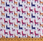 Cotton Llamas Cute Animals Wearing Sweaters Socks Scarves Pink Purple on White Cotton Fabric Print by the Yard (FUN-C6463-WHITE)