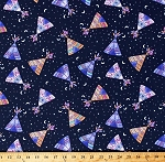 Cotton Southwestern Teepees Teepee Tipis Tents Feathers Night Sky Tribal Native American Stars Moons Navy Blue Cotton Fabric Print by the Yard (FUN-C6464-NAVY)