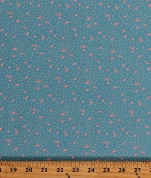 Cotton Tula Pink Zuma Tiny Anchors Seahorses Starfish Dots on Blue Nautical Glitter Litter in Aquamarine Cotton Fabric Print by the Yard (PWTP125-AQUAM)