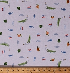 Alligators Turtles Frogs Lizards Animals on White Later Gator Jersey Knit Fabric Print By the Yard (4429F-12J)